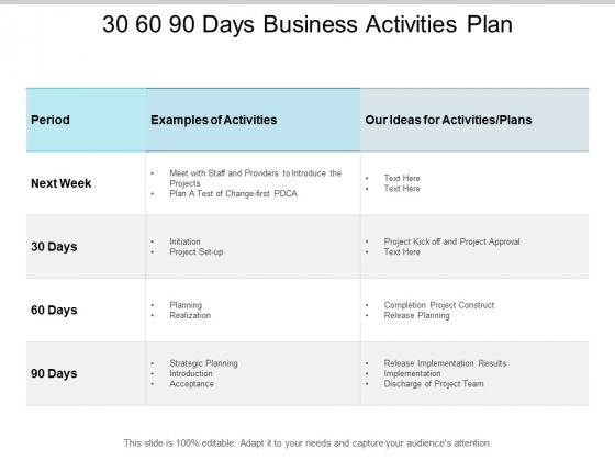 30 60 90 Days Business Activities Plan Ppt PowerPoint Presentation Inspiration Microsoft