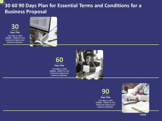 30 60 90 Days Plan For Essential Terms And Conditions For A Business Proposal Ppt PowerPoint Presentation Diagram Templates PDF