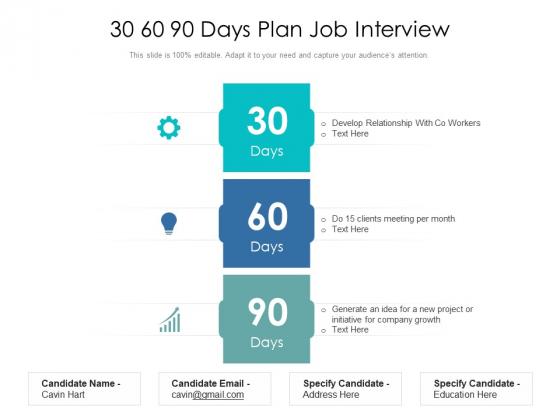 30 60 90 Days Plan Job Interview Ppt PowerPoint Presentation File Graphics PDF
