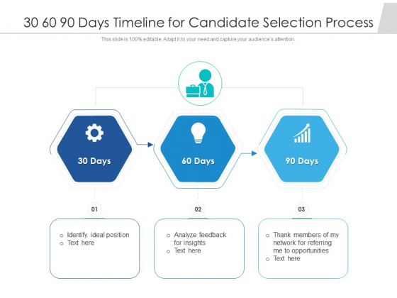 30 60 90 Days Timeline For Candidate Selection Process Ppt PowerPoint Presentation Icon Inspiration PDF