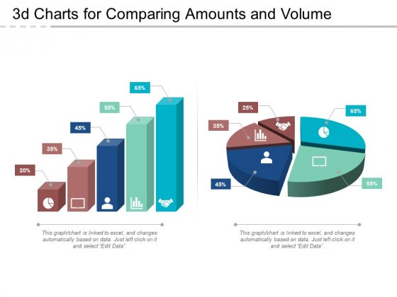 3D Charts For Comparing Amounts And Volume Ppt PowerPoint Presentation Show Deck