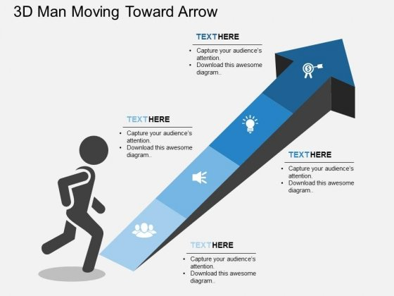 D Man Moving Toward Arrow Powerpoint Template  Powerpoint Templates