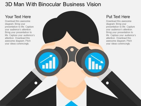 3D Man With Binocular Business Vision Powerpoint Template