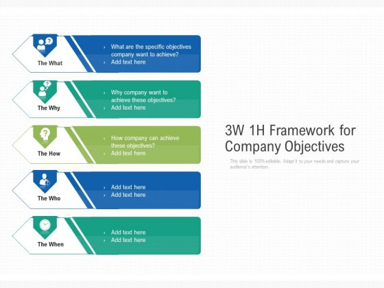 3W 1H Framework For Company Objectives Ppt PowerPoint Presentation Layouts Pictures PDF