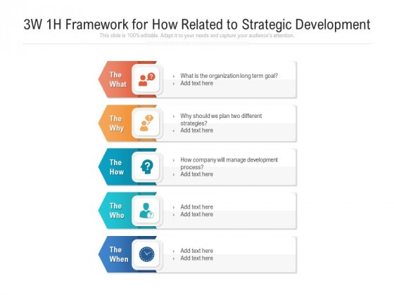 3W 1H Framework For How Related To Strategic Development Ppt PowerPoint Presentation Inspiration Graphics Tutorials PDF