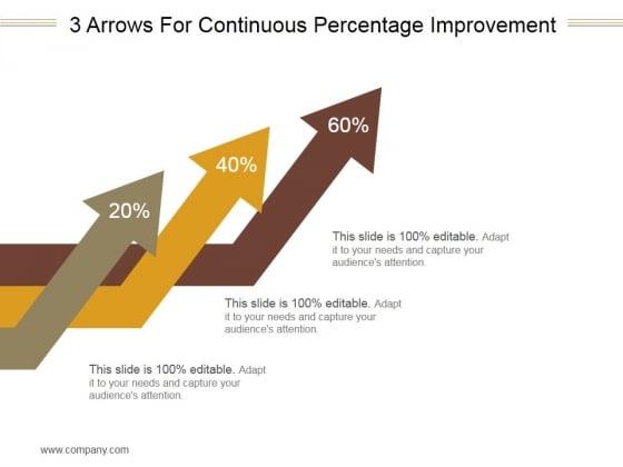 3 Arrows For Continuous Percentage Improvement Ppt PowerPoint Presentation Images