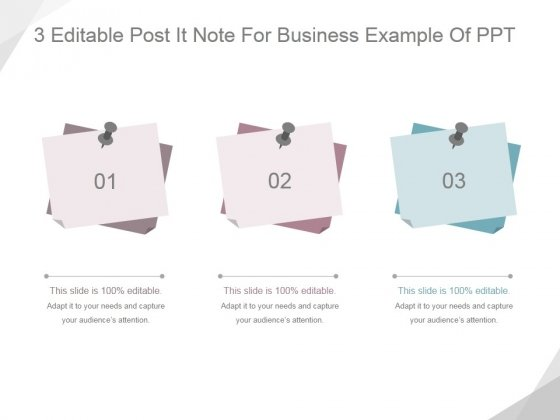 3 editable post it note for business ppt powerpoint presentation
