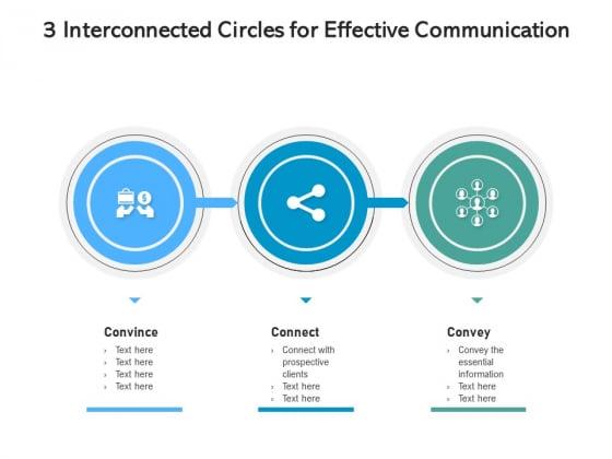 3 Interconnected Circles For Effective Communication Ppt PowerPoint Presentation Slides Portrait PDF