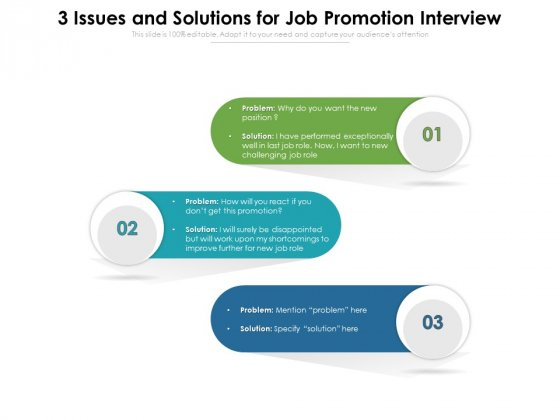 3_Issues_And_Solutions_For_Job_Promotion_Interview_Ppt_PowerPoint_Presentation_Gallery_Design_Ideas_PDF_Slide_1