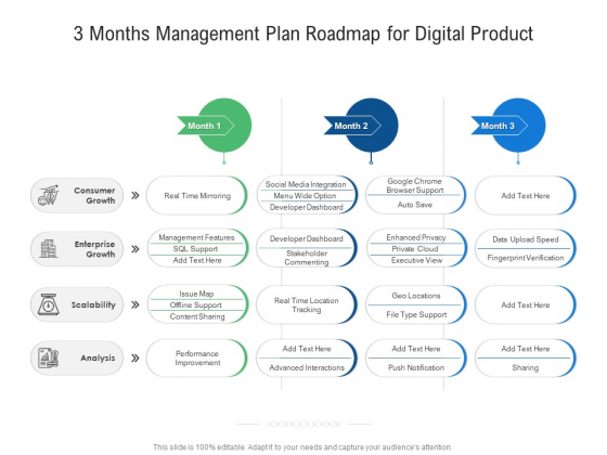 3 Months Management Plan Roadmap For Digital Product Topics