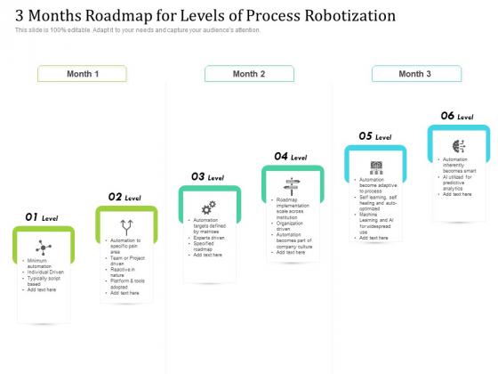 3 Months Roadmap For Levels Of Process Robotization Slides