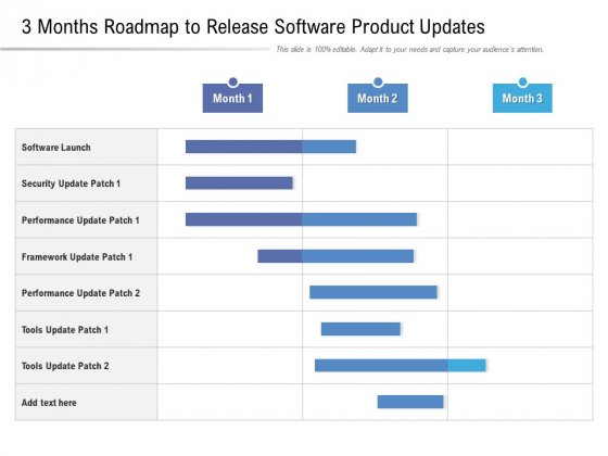 3 Months Roadmap To Release Software Product Updates Slides