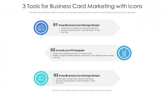 3 Tools For Business Card Marketing With Icons Ppt Summary Show PDF