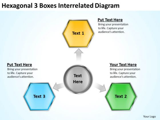 3 Boxes Interrelated Diagram How To Write Business Plan Template PowerPoint Slides