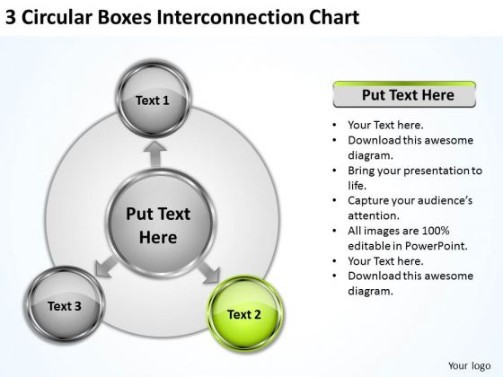 3 Circular Boxes Interconnection Chart Business Plan Consultant PowerPoint Slides