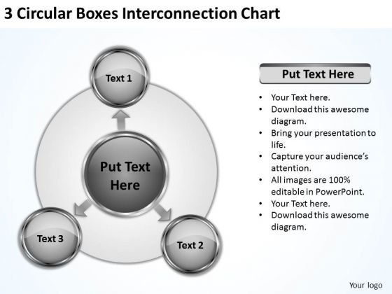 3 Circular Boxes Interconnection Chart Sample Small Business Plan PowerPoint Slides