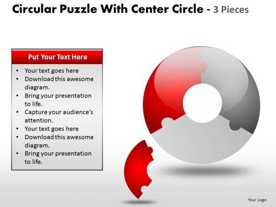 3 Circular Puzzle With Center Circle And 3 Pieces PowerPoint Slides And Ppt Diagram Templates