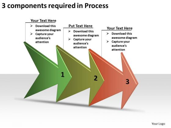 3 Components Required In Process Simple Flow Chart PowerPoint Slides
