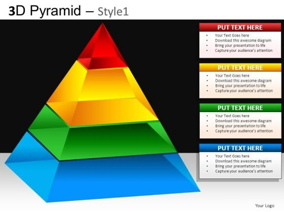 3 Dimensional Pyramid Diagram PowerPoint Slides