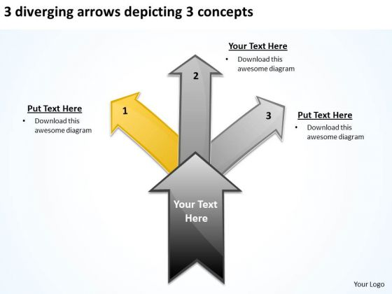 3 Diverging Arrows Depicting Concepts Business Circular Network PowerPoint Slides
