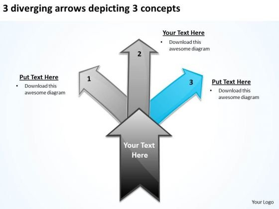 3 Diverging Arrows Depicting Concepts Circular Flow Layout Network PowerPoint Templates