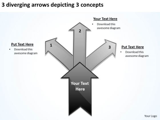 3 Diverging Arrows Depicting Concepts Circular Network PowerPoint Slides