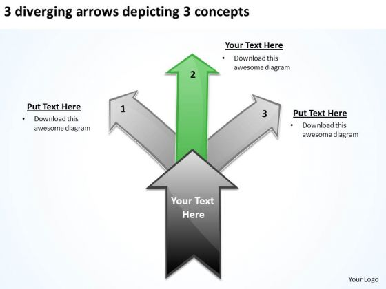3 Diverging Arrows Depicting Concepts Ppt Circular Network PowerPoint Slides