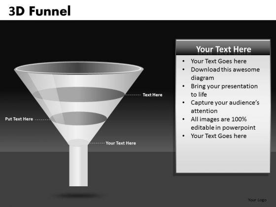 3 Level Funnel Shape PowerPoint Templates Ppt Slides