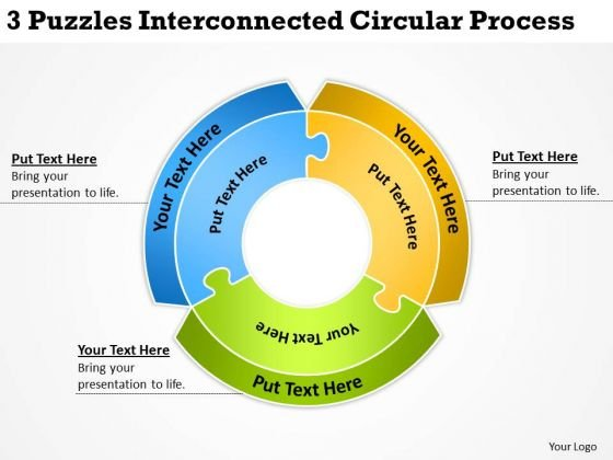 3 Puzzles Interconnected Circular Process Ppt Example Business Plan PowerPoint Slides