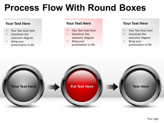 3 Stage Process Flow With Circles PowerPoint Slides And Ppt Diagram Templates