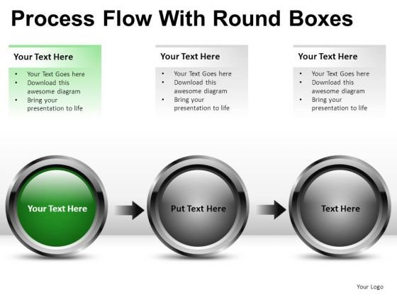 3 Stage Process Flow With Round Boxes PowerPoint Slides And Ppt Diagram Templates