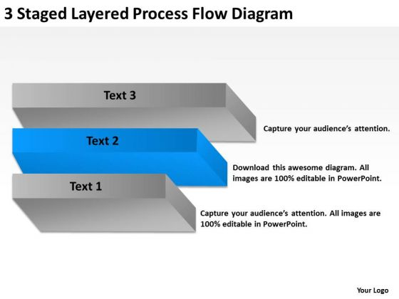 3 Staged Layered Process Flow Diagram Ppt Business Plan PowerPoint Templates