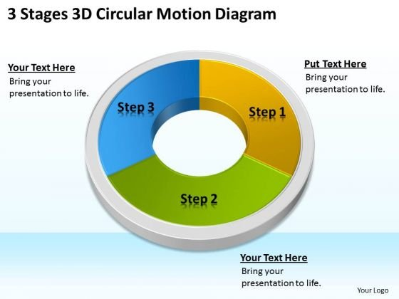 3 Stages 3d Circular Motion Diagram Business Plan PowerPoint Slides