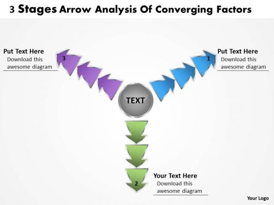 3 Stages Arrow Analysis Of Converging Factors Cycle Diagram PowerPoint Templates