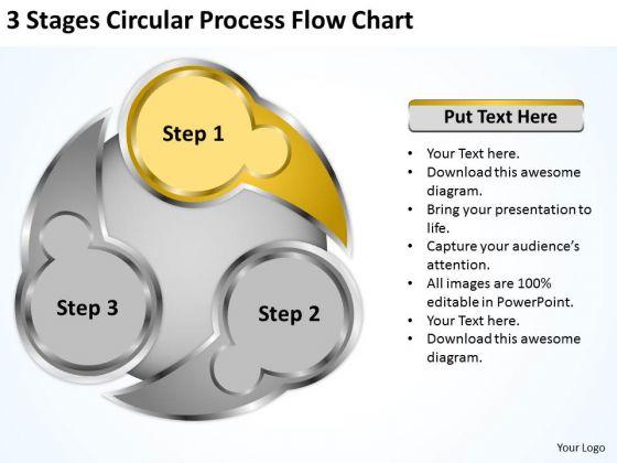 3 Stages Circluar Process Flow Chart Model Business Plan PowerPoint Slides