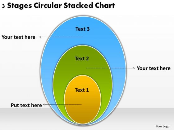 3 Stages Circular Stacked Chart How To Plan Business PowerPoint Templates