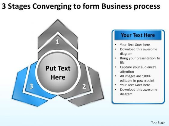3 Stages Converging To Form Business Process Pie Network PowerPoint Templates