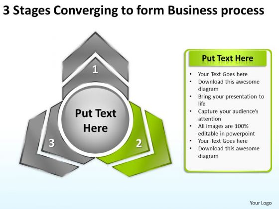 3 Stages Converging To Form Business Process Ppt Pie Network PowerPoint Templates