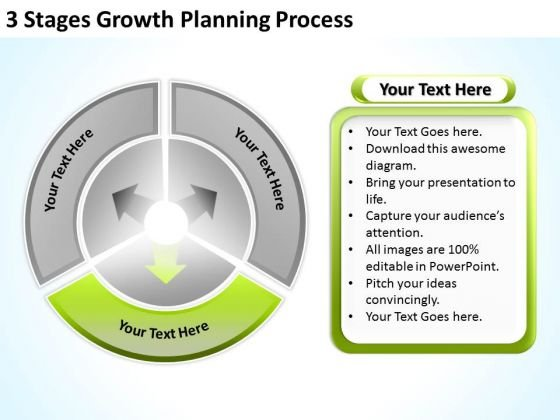 3 Stages Growth Planning Process Business Action Sample PowerPoint Slides