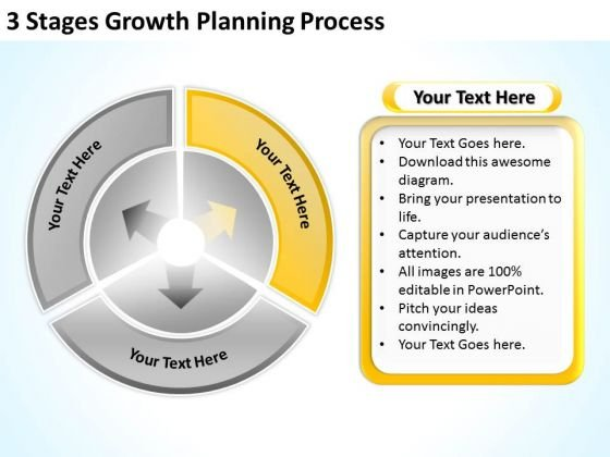3 Stages Growth Planning Process Sample Business Plans PowerPoint Slides