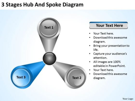 3 Stages Hub And Spoke Diagram Business Plan For Small PowerPoint Templates