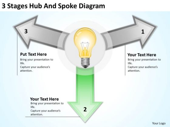 3_stages_hub_and_spoke_diagram_business_plans_for_free_powerpoint_templates_1