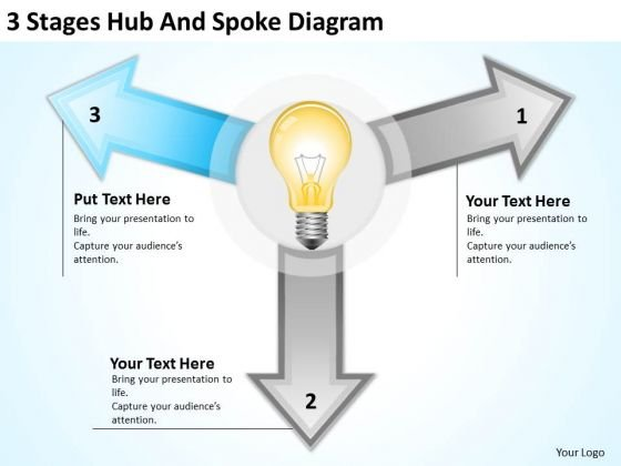 3 Stages Hub And Spoke Diagram Ppt Outline Business Plan PowerPoint Slides