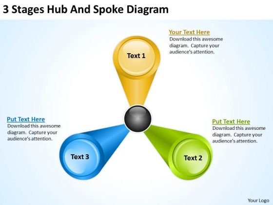 3 Stages Hub And Spoke Diagram Strategic Business Planning PowerPoint Slides