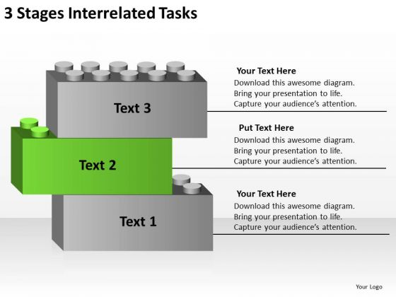 3 Stages Interrelated Tasks Business Plans For Dummies PowerPoint Slides