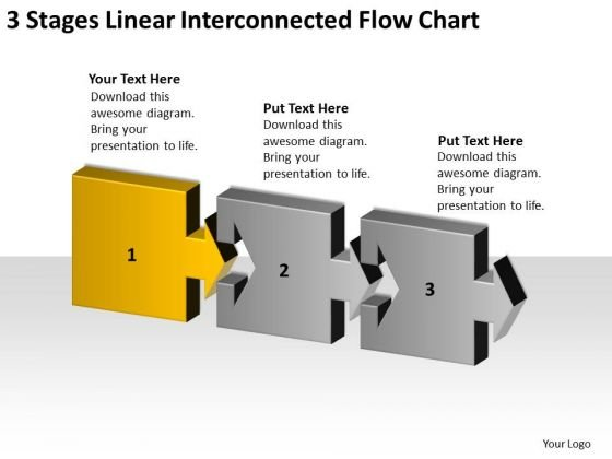 3 Stages Linear Interconnected Flow Chart Ppt Business Plans Sample PowerPoint Templates