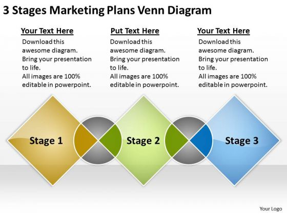 3 Stages Marketing Plans Venn Diagram Ppt Business Template PowerPoint Slides