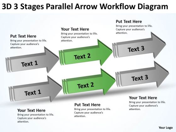 3 stages parallel arrow workflow diagram 90 day business plan examples powerpoint templates powerpoint templates