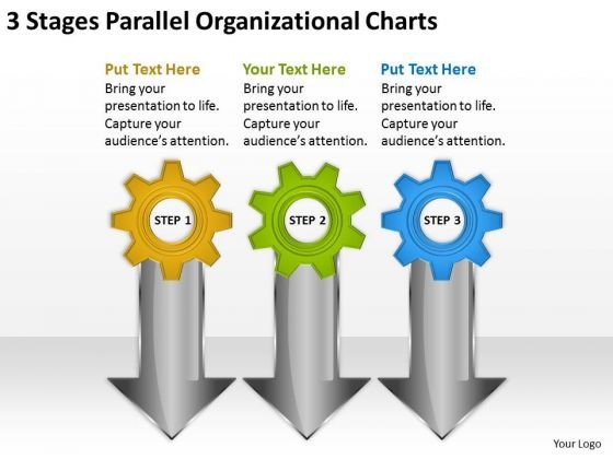 3 Stages Parallel Organizational Charts Business Plan Downloads PowerPoint Slides