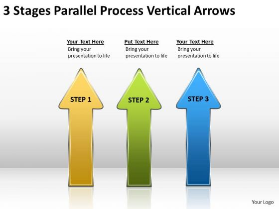 3 Stages Parallel Process Vertical Arrows Online Business Plan Software PowerPoint Templates